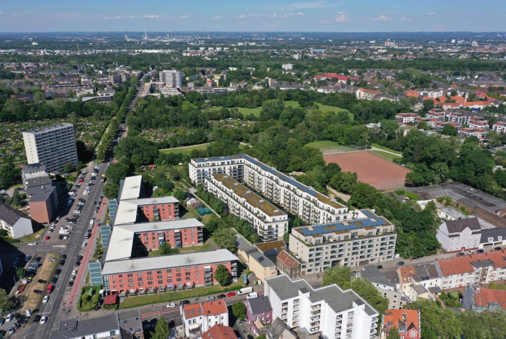 Das Bauvorhaben in der Subbelrather Straße 486 in Köln-Ehrenfeld aus der Vogelperspektive. © WvM Immobilien + Projektentwicklung GmbH